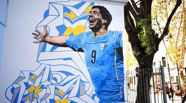 La escuelita de Suárez, en un muro montevideano