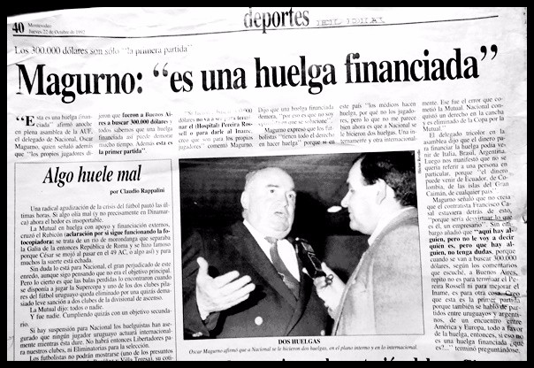 1992. La huelga de la Mutual de futbolistas que perjudicó a Nacional