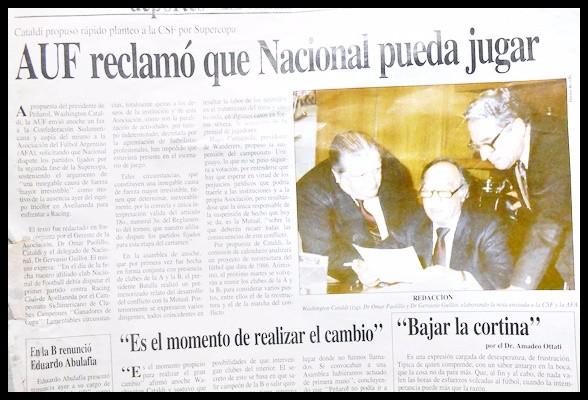 La mano de Washington Cataldi  a Nacional , manoseando a clubes de la OFI