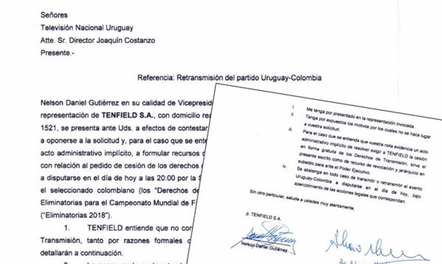 "Tenfield, a través de Nelson ""Tano"" Gutiérrez, rechazando transmitir abiertamente Uruguay – Colombia"