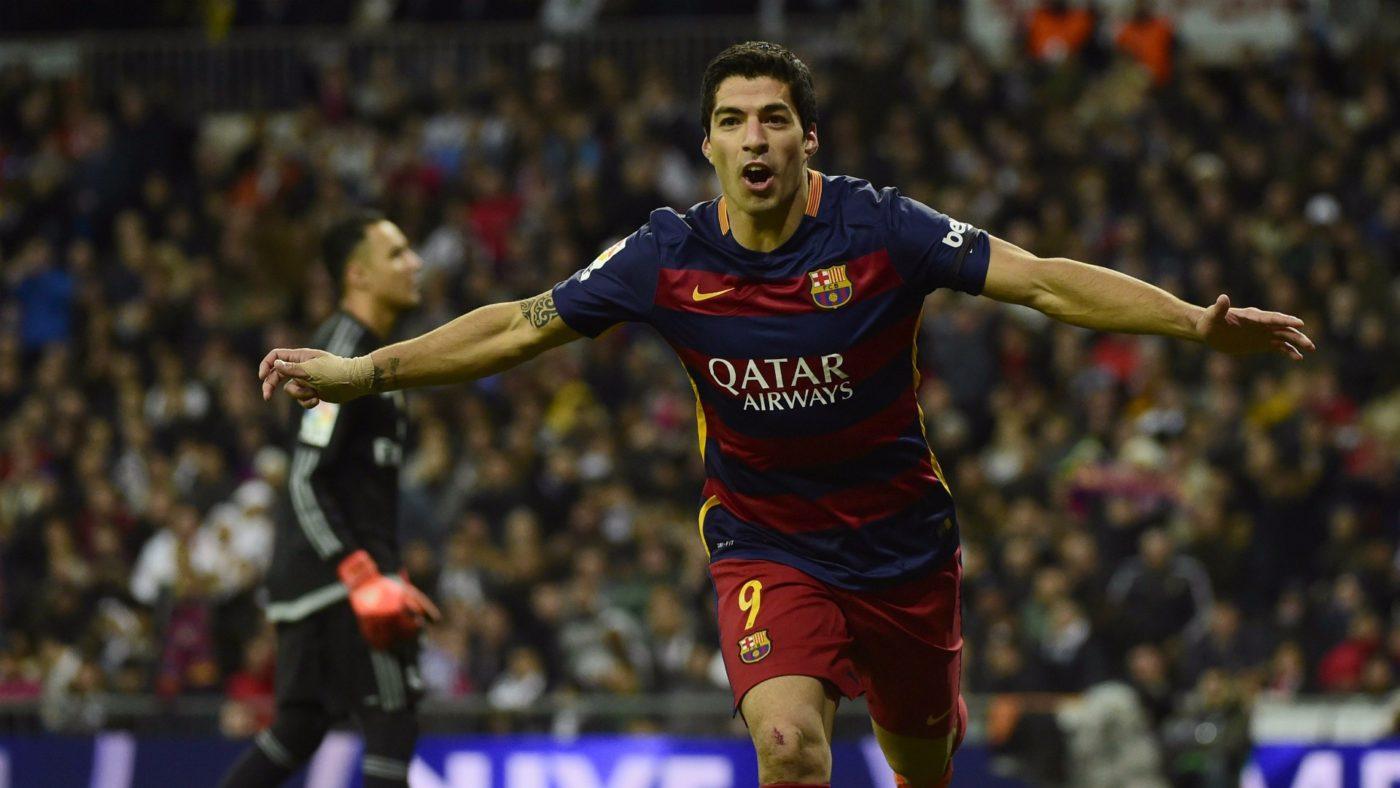 El gol 100 de Suárez en el Bernabeu
