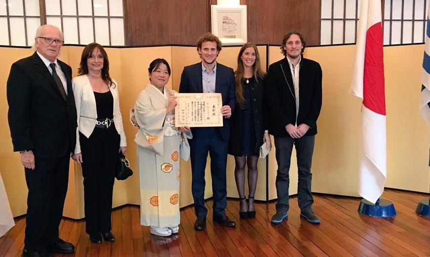 Diego Forlán fue condecorado por la Embajada de Japón en Uruguay