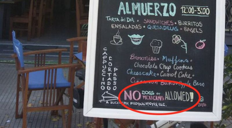 Lamentable y deplorable actitud racista, discriminatoria y xenófoba ostentada por un café de Pocitos