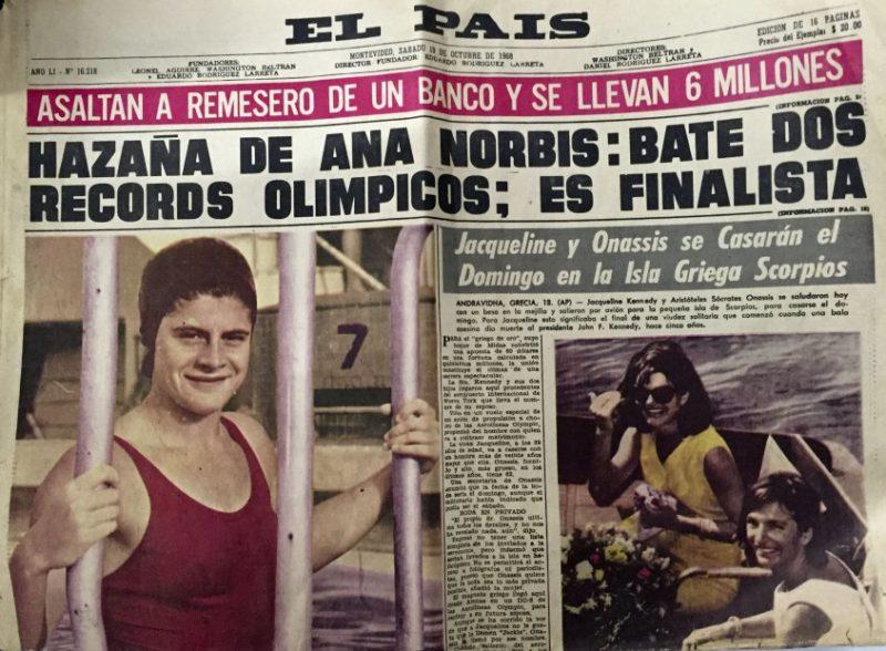 La nadadora sanducera Ana María Norbis, es la única deportista uruguaya en batir dos veces un récord olímpico