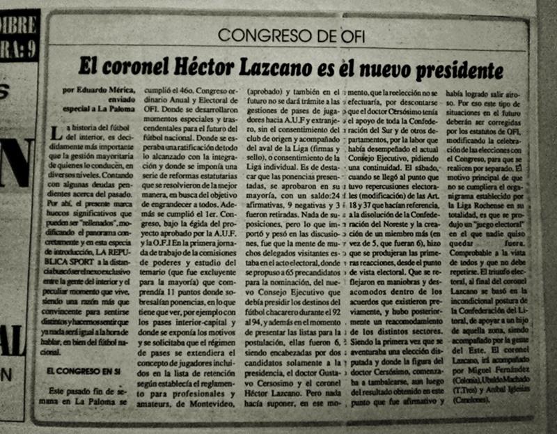 Crónica de lo que fue el Congreso de la OFI en 1992, cuando se conocía que el nuevo presidente era el Coronel Héctor Lazcano