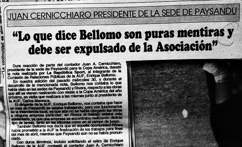 """""""Lo que dice Bellomo son puras mentiras y debe ser expulsado de la Asociación"""", así lo denunció en 1994, el Cr. Juan Cernicchiaro en Paysandú."""