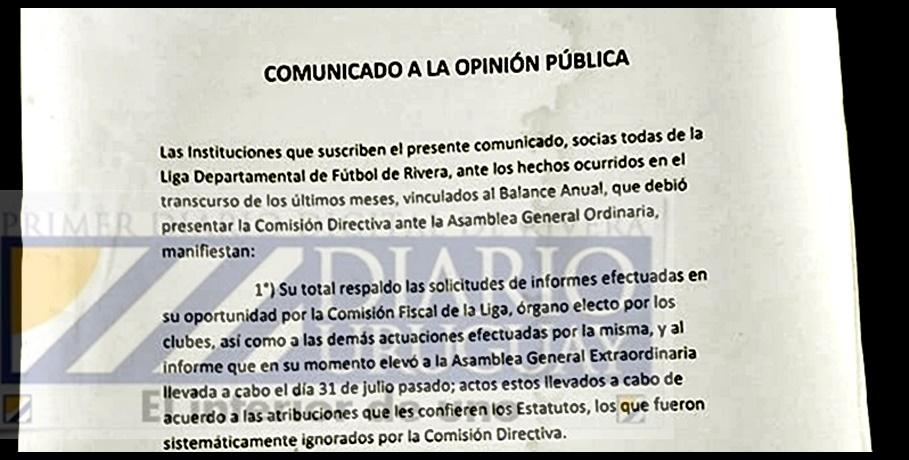 Rechazo oculto: Te mostramos la nota firmada por los clubes de la Liga de Fútbol de Rivera, dando su definitivo apoyo a los Fiscales renunciantes. Documento que no fue difundido por la prensa deportiva.