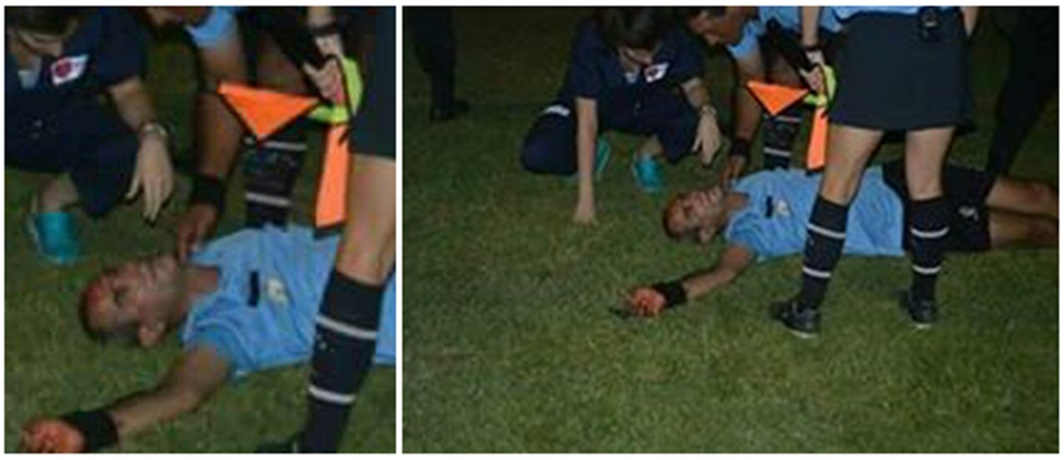 Falta poquito para que maten a un árbitro en una cancha de fútbol de la OFI