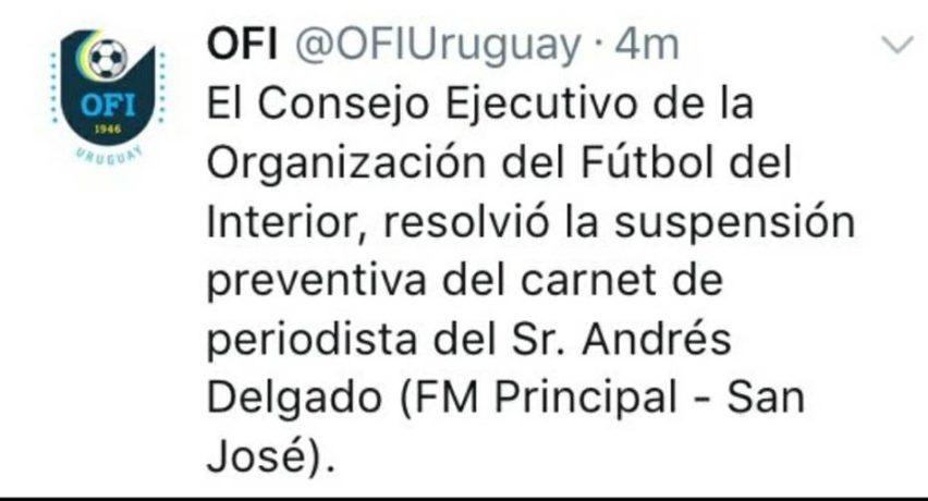 Presión horaria: El Ejecutivo de la OFI resolvió la suspensión preventiva del carnet de periodista Andrés Delgado, de FM Principal, San José