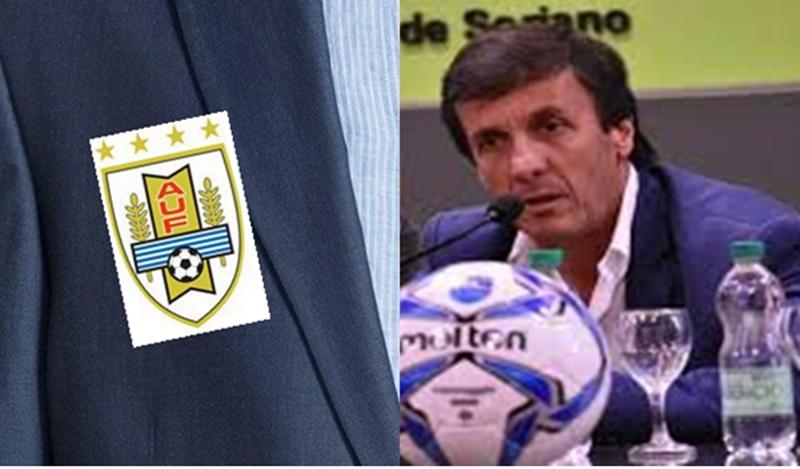 ¡Si lo viera el profesor Cigliuti!… A medida ideal: El presidente de la OFI, Gustavo Bares acepta ir a Rusia vistiendo un saco con logo de la AUF