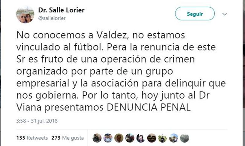 """Quién atrapa este tiro al arco del Dr. Gustavo Salle:""""No conocemos a Valdez, no estamos vinculados al fútbol. Pero la renuncia de este señor es fruto de una operación de crimen organizado…"""""""