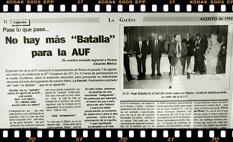 El Dr. Hugo Batalla viajando hacia Rivera renunció a la presidencia de la AUF