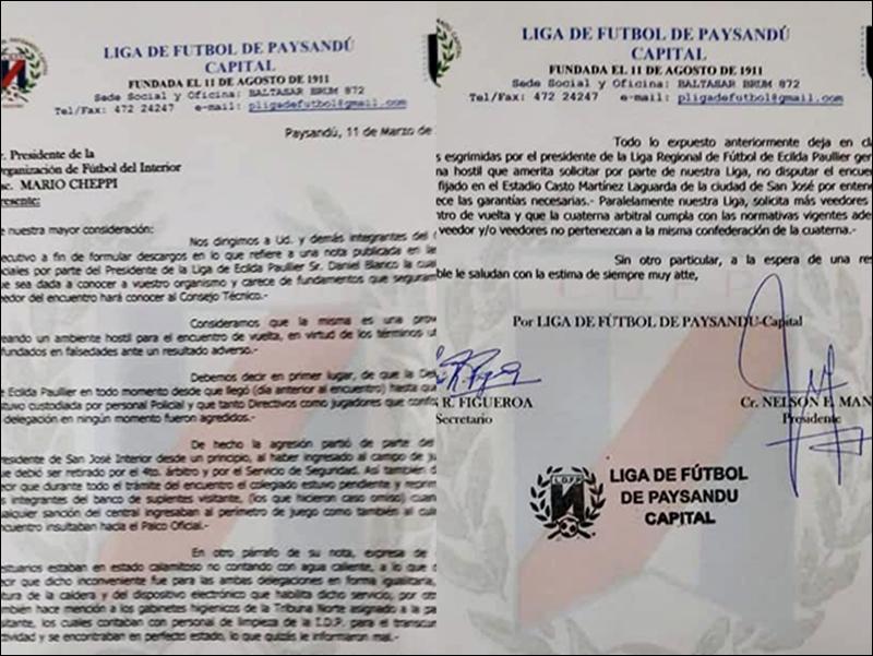 Paysandú no quiere saber con la revancha en San José, frente a Ecilda Paullier, y pide a OFI que lo suspenda