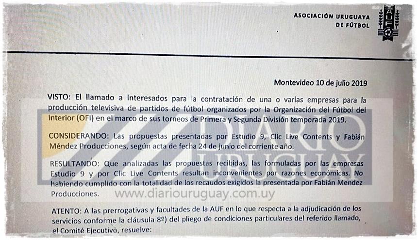 (Vídeos) No se entiende cómo la OFI firmó contrato con AUF TV, sin árbitros y con empresas rechazadas